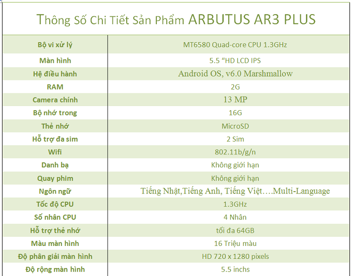 Cấu hình điện thoại Arbutus AR3 PLUS